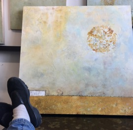 M. Thibault, visual art, encaustic painting. Wabi Sabi collection, art for sale